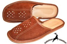Mens Real Suede Leather Slippers Shoes Sandals Tan Handmade Scuff Soft Slip On