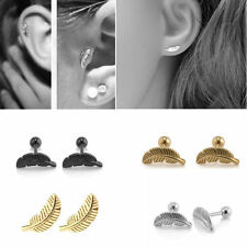 Stainless Steel Feather Barbell Ear Cartilage Helix Tragus Stud Earring Piercing