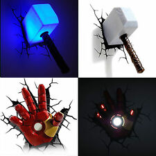 Marvel Avengers Thor Hammer MJOLNIR/Iron Man Hand 3D Deco Wall LED Light Hot