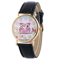 Women Owl Leather Watch Decorated Flowers Rhinestone Quartz Analog Wrist Watches