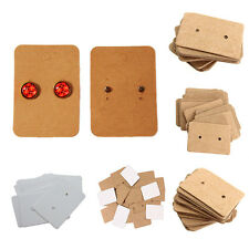 100 X Professional Earring Ear Studs Holder Display Hang Kraft Cards Paper FG