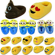 Womens Winter Warm Emoji Minions Soft Plush Antiskid Indoor Mens Slippers Shoes