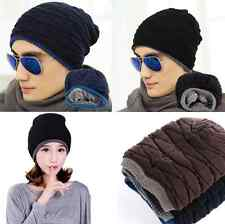 Unisex Crochet Knit Plicate Baggy Beanie Wool Hat Skull Winter Warm men Chic Cap