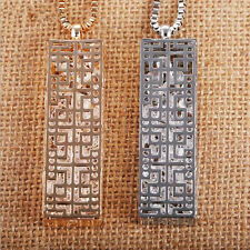 Statement  Hollow  Pendant  Fashion Necklace  rectangle  Crystal  Long chain