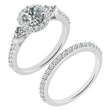 1 Carat G-H Diamond Beautiful Designer Wedding Halo Ring Band 14K White Gold