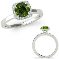 0.5 Carat Green Diamond Fancy Solitaire Halo Wedding Band Ring 14K White Gold