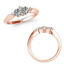 1 Carat Diamond Forever Us Two Stone Fancy Solitaire Wedding Ring 14K Rose Gold