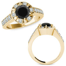 1.75 Carat Black Round Diamond  Solitaire Halo Engagement Ring 14K Yellow Gold