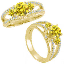 0.75 Ct Yellow Diamond 3 Three Stone Eternity Wedding Ring 14K Yellow Gold