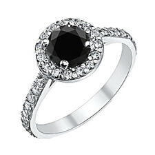 1.50 Carat Natural Black Diamond Halo Solitaire Engagement Ring 14K White Gold