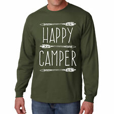 Long Sleeve Happy Camper T Shirt Camping S Camp Tee Hiking Outdoor Fishing Gift