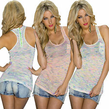 Ladies Tank Top Tank Zipper mottled neon S 34 36 38 Party Club Racer back sexy