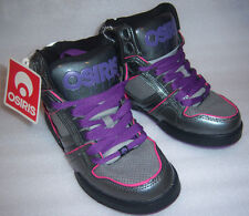 Osiris Girls Pink Gray Purple High Top Skater Shoes Size 1 NEW