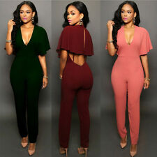 Women V neck Backless Bodycon Evening Party Jumpsuit&Romper Trousers Clubwear