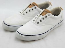 Sperry Top Sider Men's White Salt Washed Striper CVO Laceless Shoe 11.5M