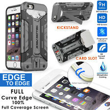 iPhone 6 6S Case[Extreme Protect][Kick-Stand][Card Holder][3D Curved Glass Film]