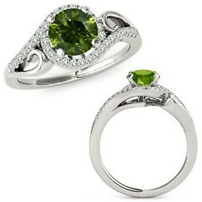1 Carat Green Diamond Fancy Halo Infinity Anniversary Ring Set 14K White Gold