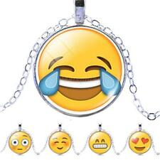 Funny Emoji Photo Cabochon Glass Pendant Silver Plated Chain Necklace Jewelry