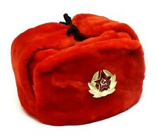 RUSSIAN MILITARY RED WINTER USHANKA HAT WITH SOVIET BADGE!!! ALL SIZES!!!