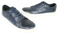 LANVIN Paris Signature Mens Leather Luxury Sneakers Sz 43 Blue Athletic Shoes