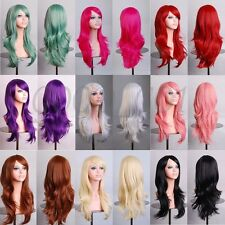 Womens Long Hair Wig Curly Wavy Synthetic Anime Cosplay Party Full Wigs Colorful
