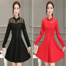 Vogue Fashion Stand up Collar Long Sleeved Tapestry Lace Slim Skirt A-line Dress