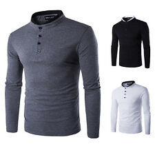 Winter Mens Stylish Casual Slim Fit Long Sleeve Half Buttons Placket T-Shirt Top