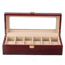 6 Slot Luxury Wooden Watch Storage Box Glass Top Display Case Jewelry Organizer