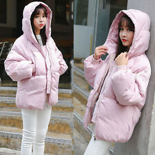 Women Winter Jacket Cotton Quilted Hooded Padded Zip Loose Puffer Coat Outerwear