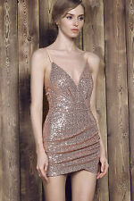 Sexy Evening Glam Sparkly Champagne Color Club Dress Cocktail Dancer Dress