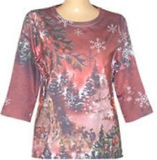 3/4 Sleeves  Christmas Stroll sublimation Scoopneck Top size S-M-L-XL-1X-2X-3X