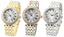 Designer Rose Gold Fashion Ladies Watch Crystal Stone Set Bling Steel 12-24h NY