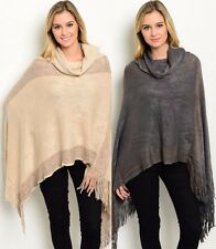 Ms Accessories Metallic Cowl Neck Fringe Knit Poncho Sweater High Low MYF1065