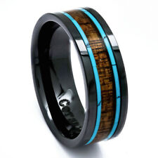 Mens Koa Wood Wedding Band with Turquoise 8mm Flat Top Black Ceramic Size 7 -15