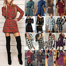 Womens Ladies Casual Check Plaid Long Sleeve Tartan Blouse Shirt Mini Dress Tops