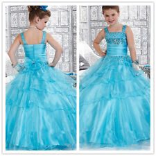 Flower Girl Dresses Party White custom party bridesmaid ball prom pageant blue 2