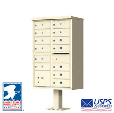 13 Door Outdoor Locking Commercial Cluster Mailbox with Pedestal - USPS Access