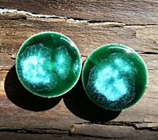Pair - Emerald Falls Glass Ear Plugs Double-flared Gauges Stretchers Tunnels