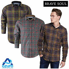 Mens Long Sleeve Shirt Brave Soul Brushed Cotton Flannel Check Lumberjack S-XL