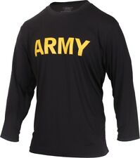 Black US Army Long Sleeve Performance PT Shirt