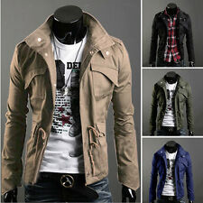Mens Slim Fit Zip Button Stand Collar Jacket Coat Military Style Casual Overcoat