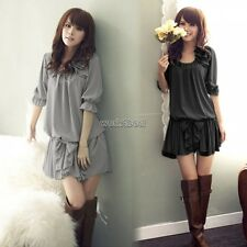 Summer Women Sweet Loose Half Puff Sleeve Chiffon Bow Party Mini Dress WST