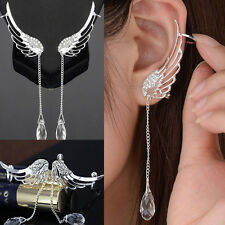 Women Jewelry Ear Clip Stud Cuff Wrap Cartilage Earring Drop Dangle Angel Wing