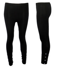 LADIES PLAIN BLACK FULL LENGTH WOMENS BUTTON DETAILED RUCHED LEGGINGS SIZE 6-14