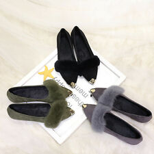 Womens Cute Rabbit Fur Trim Slip on Casual Pointed Toe Pumps Flat Loafers Shoes