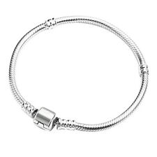 Women's Silver Plated Snake Chain With Barrel Clasp Bead Bangle Bracelet Deluxe