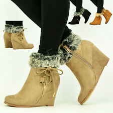 NEW WOMENS LADIES MID WEDGE HEEL ZIP LACE FUR LINED ANKLE BOOTS SHOES SIZE UK