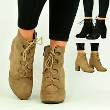 NEW LADIES WOMENS HIGH BLOCK HEEL ZIP LACE UP BOOTIES ANKLE BOOTS SHOES SIZE UK
