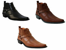 MENS BOYS COWBOY HARNESS SLIP ON GUSSEST ANKLE RIDING BIKER WESTERN BOOTS SHOES
