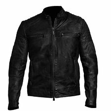 Mens Biker Vintage Motorcycle Cafe Racer Black Real Leather Jacket